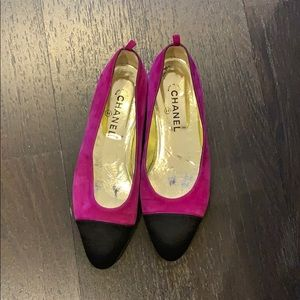 Pink and Black Chanel Flats
